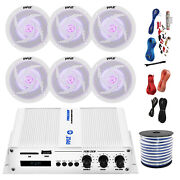 Pyle Marine 6-channel Bluetooth Amp + Kit6x 5.25 White Led Speakers50 Ft Wire