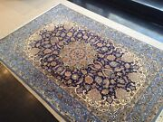 Nain Vintage Hand Tied In Wool And Silk Blend 6and039x4 Carpet