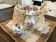 Herend- Tea/coffee Set From Hungary Hand Painted Floral With Pink Rose