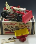 Marx 1950's Climbing Tractor Set Sparkling Tin Mib Windup Toy Red With Box 21