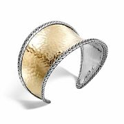 John Hardy Sterling Silver And 18k Gold Classic Chain Small Silver Edge Cuff New