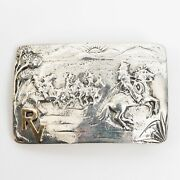 Sunset Trails Sterling Silver And 10k Gold Belt Buckle Made For Rancho Vistadores