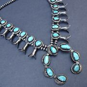 Vintage Navajo Sterling Silver Turquoise Squash Blossom Necklace Applied Leaves