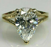 Pear Diamond Solitaire With Accents Engagement Ring Solid 14k Yellow Gold Over