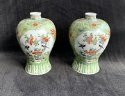 Chinese Famille Verte Porcelain Vases Birds And Butterflies 20th Century