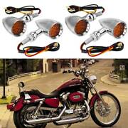 4x For Harley Sportster Xl 883 1000 1200 Motorcycle Led Turn Signal Lights Amber
