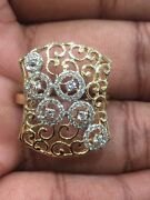 Pave 0.50 Cts Round Brilliant Cut Diamonds Engagement Ring In 585 Solid 14k Gold