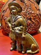 Gold Paint 1910-34 Ac Williams Cast Iron Buster Brown And Tige Coin Still Bank