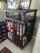 2 Of 3 Antique Revolving Bookcases W/2 Flat Shelves,tiger Oak,numbers,casters