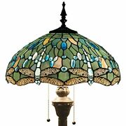 Style Floor Standing Lamp 64 Tall Sea Blue Stained Glass Shade Crystal