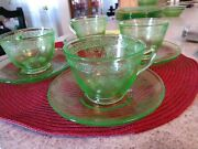 4federal Glass Green Depression Vaseline Coffee Cup And Saucers Georgian Lovebird