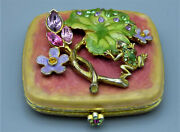 Jay Strongwater Enamel Double Mirror Compact With Frog Lily Pad And Flowers