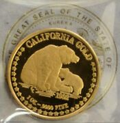 1992 Gold California Grizzly Bear 1 Oz 999.9 Pure Gold Coin W S/n Coa