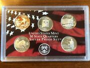 2008 Silver Quarter Proof Set 50 States And Territories Has Box And Coa