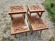 Pair Vintage Mid Century Rare End Tables 2 Tier Carved Farming Wood Unknown