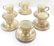 Elite Jw Robinson Sterling Silver 6 Demitasse Cups And Saucers With Lenox Liners