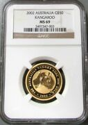 2002 Gold Australia 50 Kangaroo 1/2 Oz 1498 Minted Coin Ngc Mint State 69