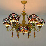 Style Floral Stained Glass Chandelier Living Room Ceiling Light Fixtures