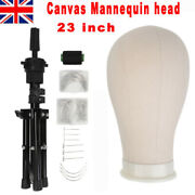 23and039and039 Canvas Block Wig Making Mannequin Head + Mini Tripod Stand W/t-pins Uk