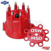 Msd Spark Plug Wire Retainer Distributor Cap W/ Hei Terminals Fits Gm V8- Red