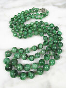 Antique Victorian Chinese Spinach Green Jade 2 Strand Necklace 10k Gold Clasp