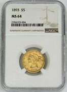 1893 Gold United States 5 Liberty Head Half Eagle Coin Ngc Mint State 64