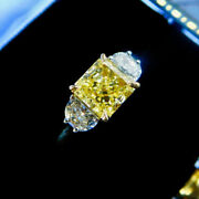 Vintage 3.20 Ct Emerald Canary Diamond Antique Ring Antique 925 Sterling Silver