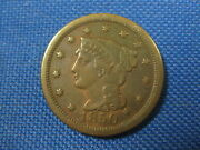 1850 Us Braided Hair Large Cent One Cent Coin