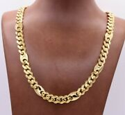 9mm Mens Miami Cuban Mariner Link Chain Necklace Box Clasp Real 10k Yellow Gold