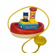 Fisher Price 1960s Pull Toy Antique Vtg Tuggy Tooter Boat Ship Squeeze Ball Mcm