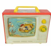 Fisher Price 1960s Pull Toy Vtg Antique Music Box Television 1966 Row Boat Tunes