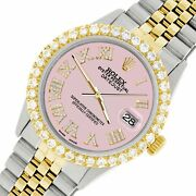 Rolex Datejust 36mm 2-tone Watch With 3.10ct Diamond Bezel/orchid Pink Dial