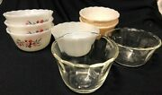 Fire-king Custard Cups Lot Of 8 Mixed Patterns Peach Luster Primrose Clear 6 Oz