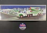 2002 Hess Toy Truck W Airplane And Collector Badge Pin New Gas Oil Station Racer