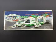 2001 Hess Toy Truck Helicopter W Motorcycle And Cruiser New Gas Oil Station