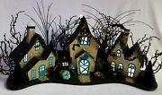 Large Teal And Silver Halloween Haunted Cardboard Village - Lights Up