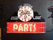 Cal Custom Speed Shop Parts Neon Sign - Lady Luck - Mancave - Garage
