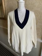 Womens Oversized Antique Cream With Navy Blue Trim Sweater Jumper S