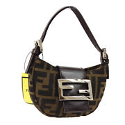Fendi Zucca Mini Hand Bag Purse Brown Canvas Leather Vintage Italy Auth R11703