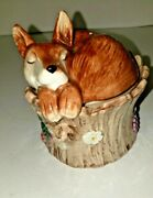 Fitz And Floyd Fox On A Stump Salt And Pepper Shaker
