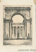 C1920and039s Harriet Gene Roudebush Pencil Signed Etching Entrance To Legion Of Honor