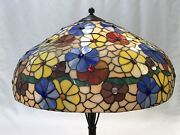 Extra Large 24 Vtg Stained Glass Lamp Shade Style Boho Flowers 60s 70s