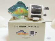 A Bass And Fishing Reel Salt And Pepper Shakers Style 393