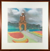Framed 20th Century Pastel - Holbeck Clock Tower Scarborough