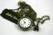 Cookie Lee Pendant Necklace Watch Eiffel Tower Charm Round 30-35 Adjustable