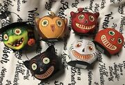Dept.56 Vintage Mint Condition Halloween Paper Mache Candy Buckets 6pc Set Small