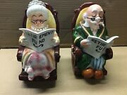 Lefton Ceramic Old Man And Woman Rocking Chair Retirement Fund Coin Piggy Banks
