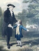 George Washington Father I Cannot Tell A Lie Hand-colored Engraving 1867