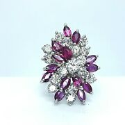 Gorgeous Vintage Style 14k Wg Ruby And Diamond Cluster Cocktail Ring