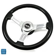 1964-1966 Chevy Black Wood And Brushed Silver Steering Wheel W/ Ss Center Cap Kit
